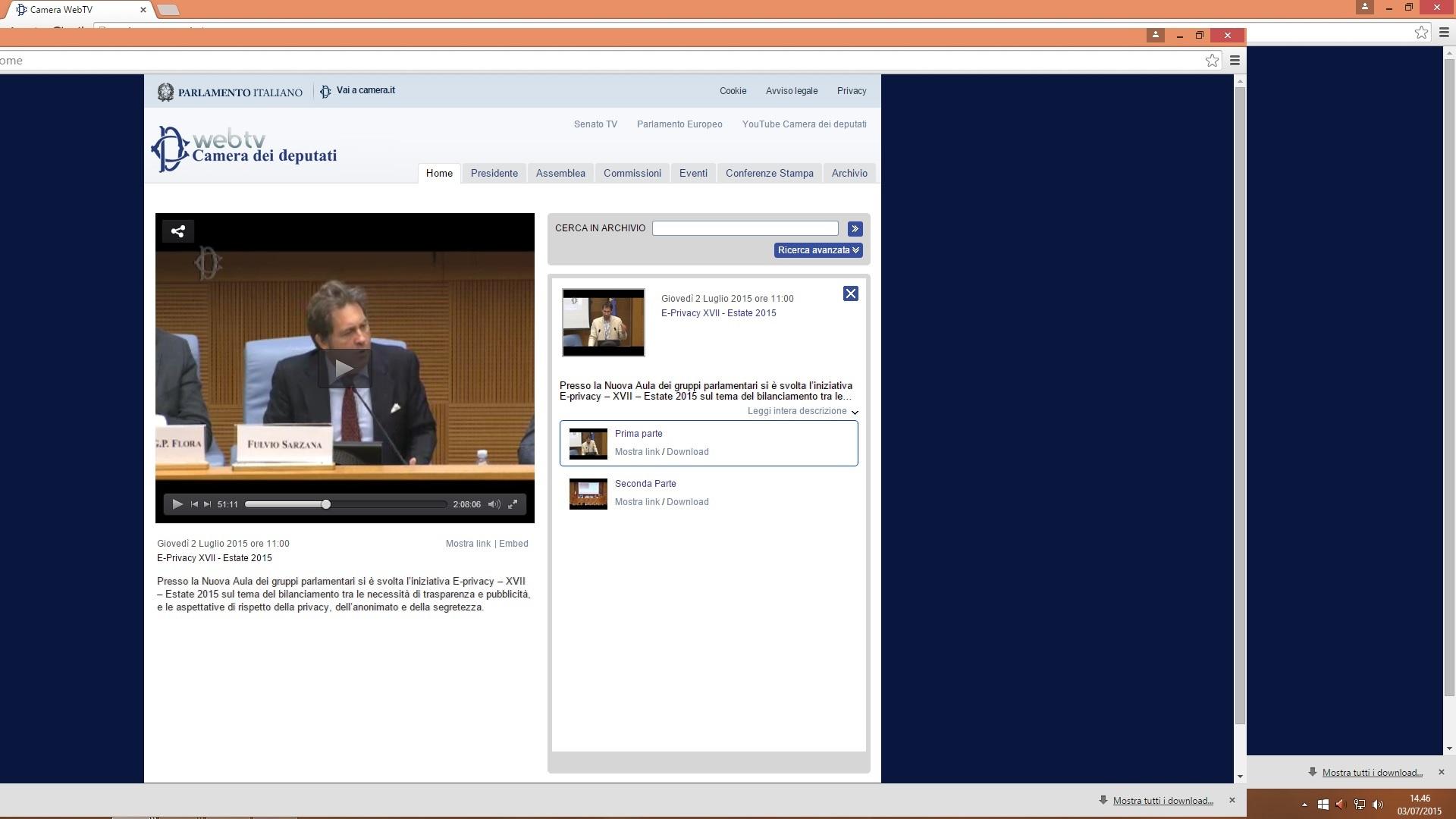 Camera dei deputati web tv privacy e reputazione digitale for Web tv camera dei deputati
